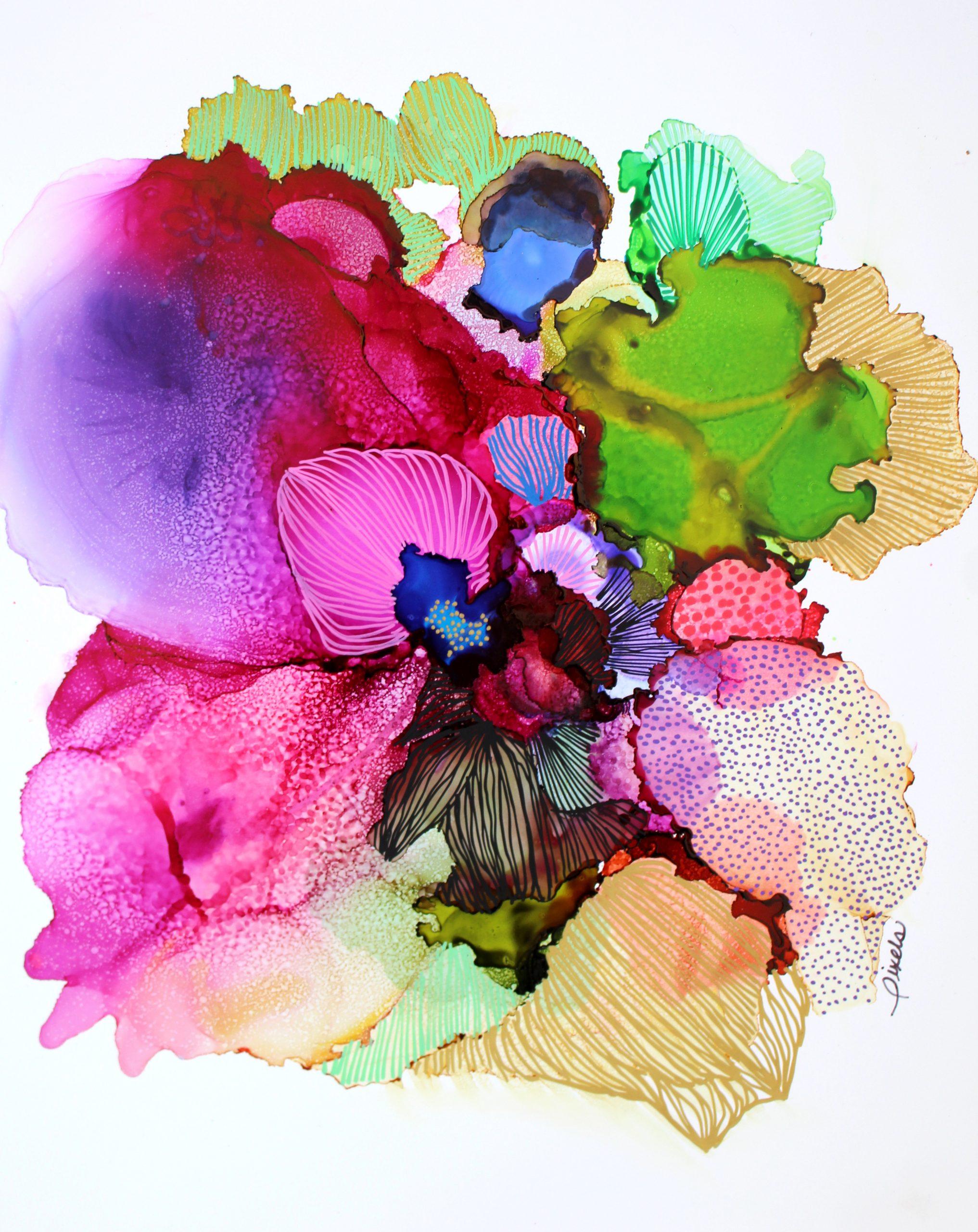 Encre sur papier,couleurs, vivant, pixels