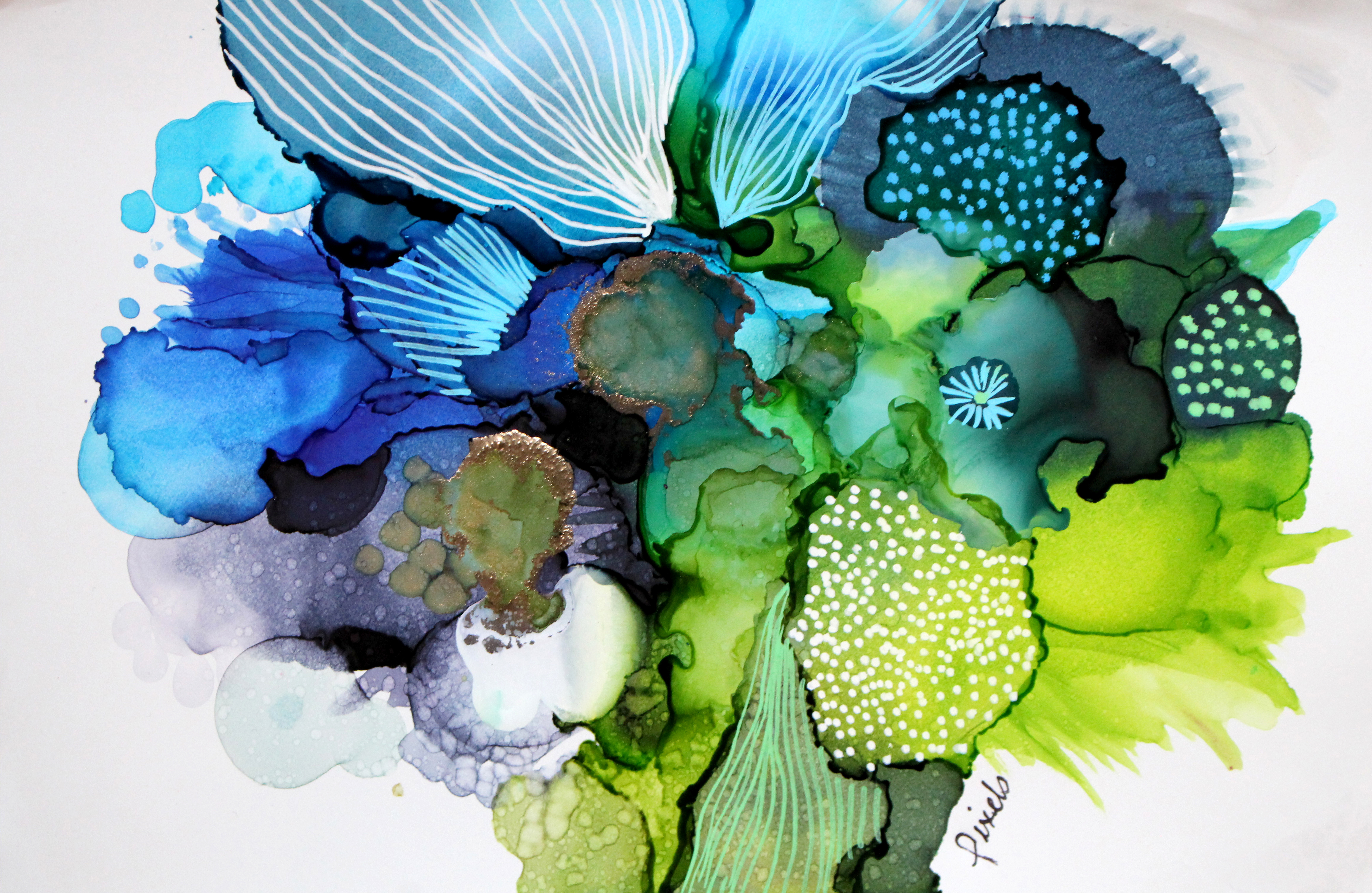 bloom,Alcool ink and acrylic on yuppo paper pixels, galerie roccia
