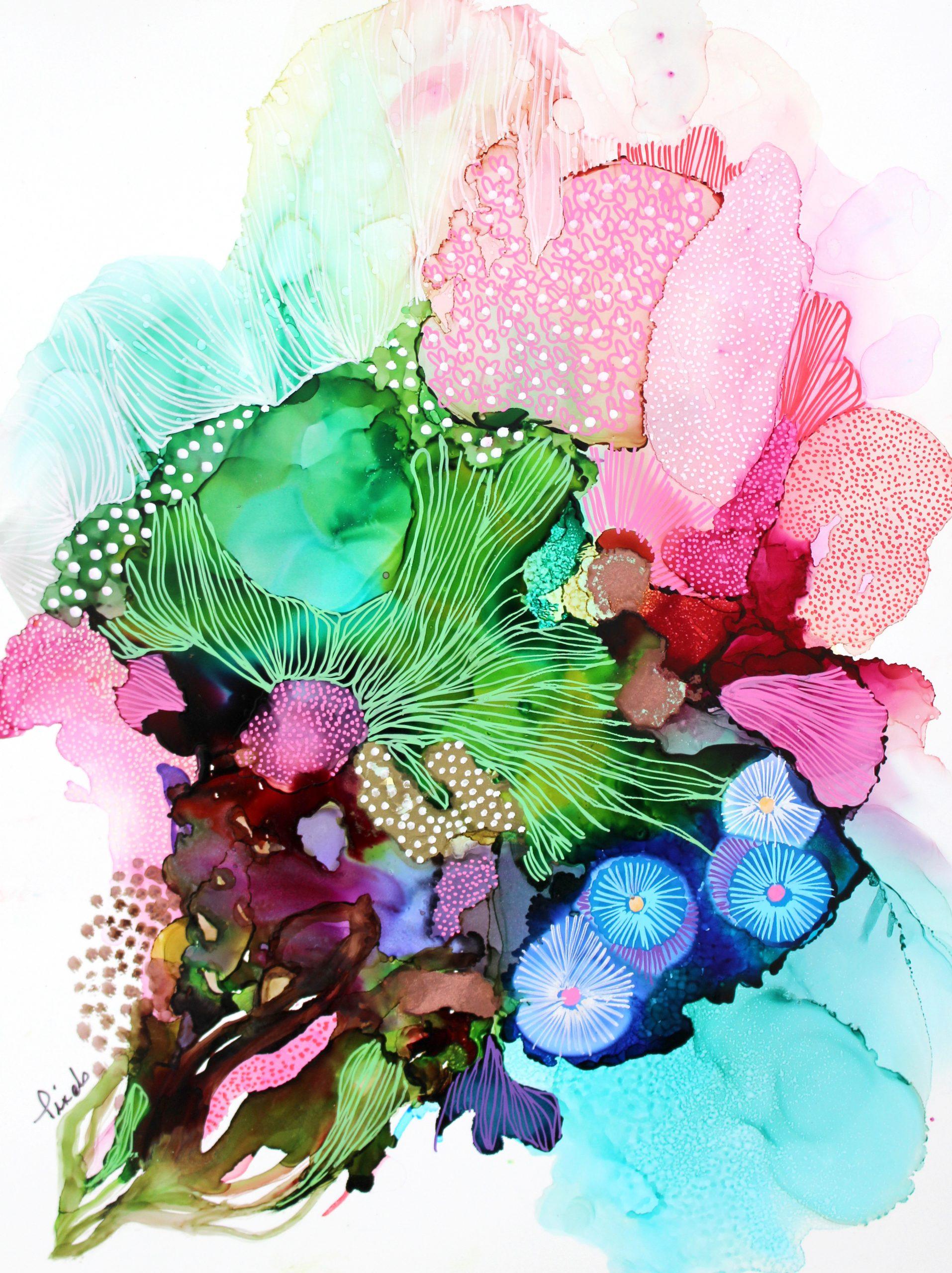 Pixels, couleurs, oeuvre encre sur papier, galerie roccia