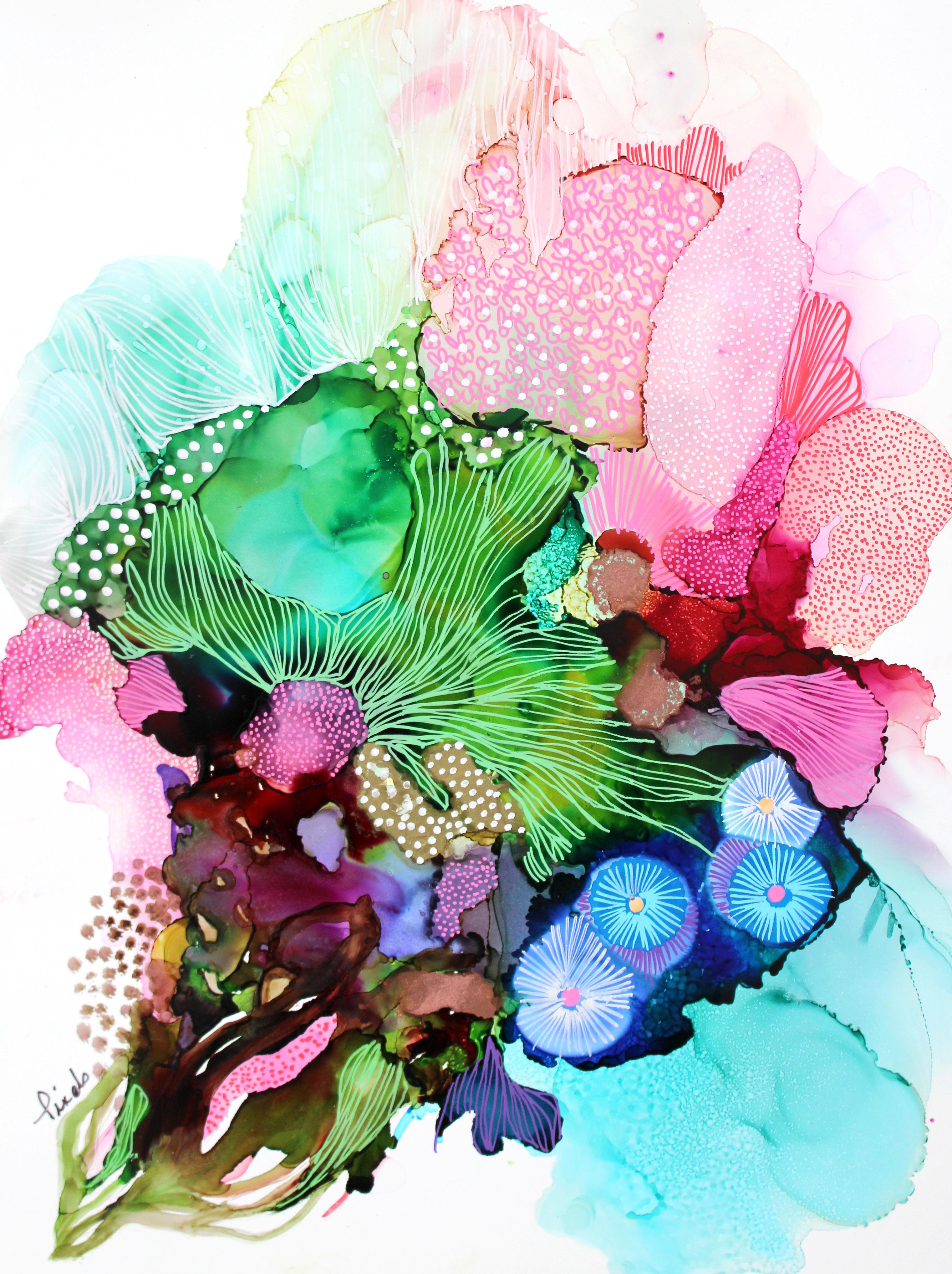 Pixels, couleurs, ink on paper, galerie roccia