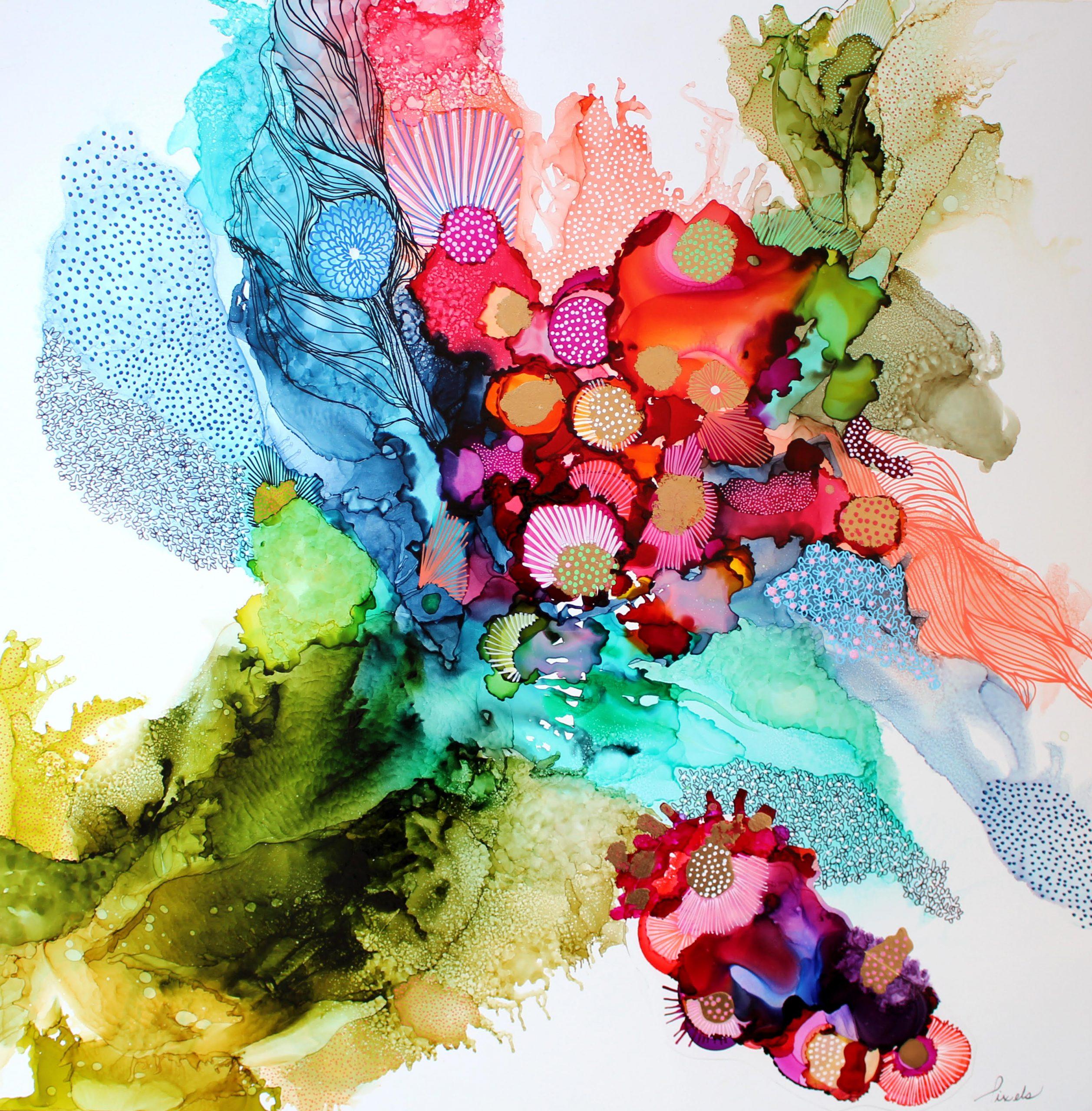 Pixels, oeuvre encre, artiste galerie roccia